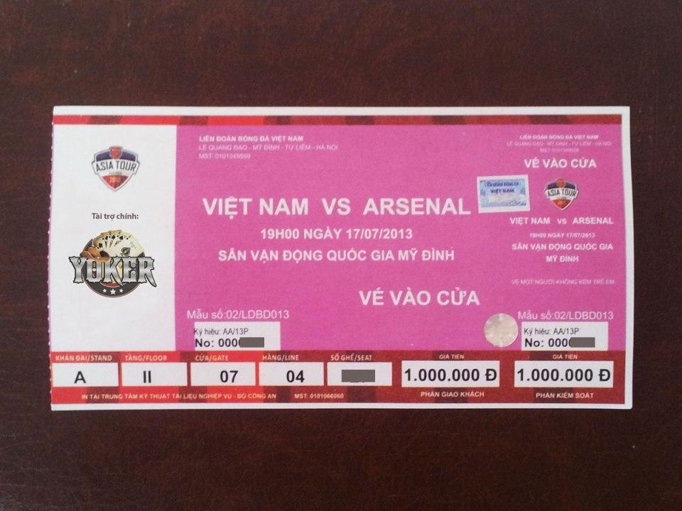 Vé xem trận Việt Nam - Arsenal